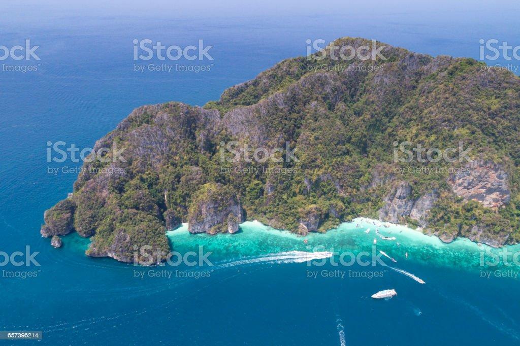 Long-tail Boats, Bird's-Eye View, Phi Phi Islands, Thailand stock photo