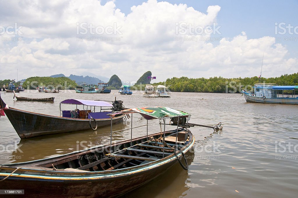 Long-Tail Boats In Krabi, Thailand stock photo