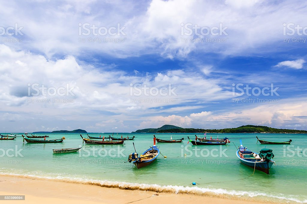 Long-tail boats in Phuket, Thailand stock photo