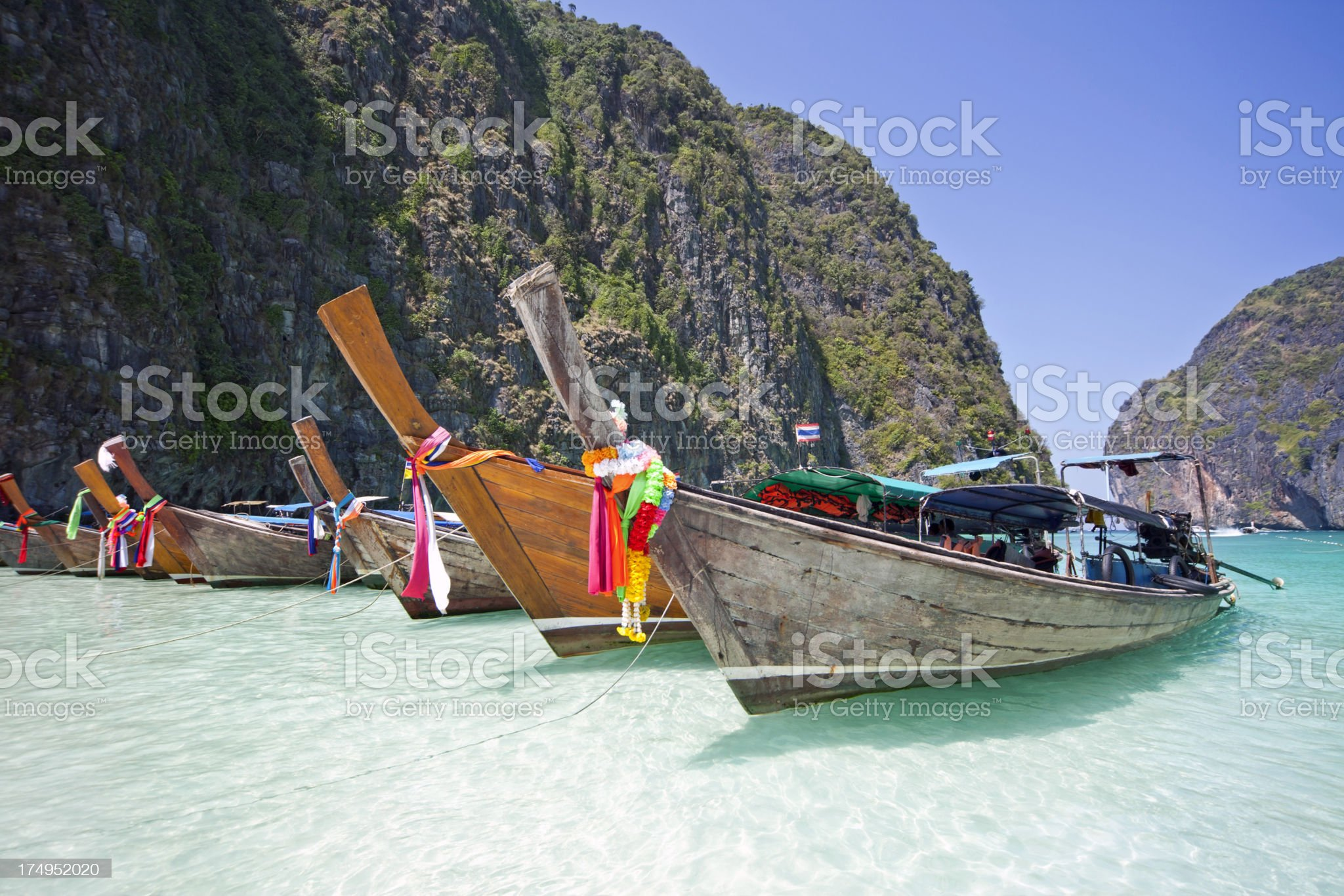 Longtail boats in Thailand royalty-free stock photo