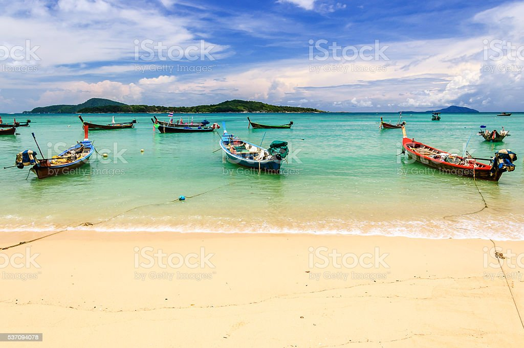 Long-tail boats, Rawai beach, Phuket, Thailand stock photo