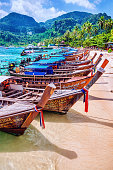 Longtail Wooden Boats in Phuket, Thailand