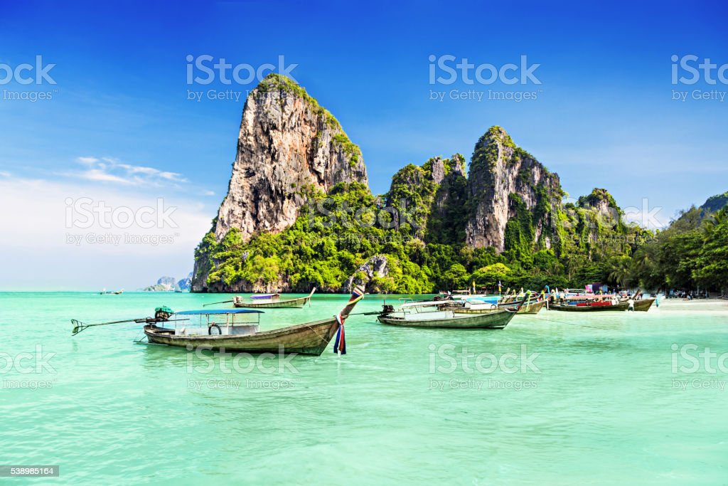 Longtale boats stock photo