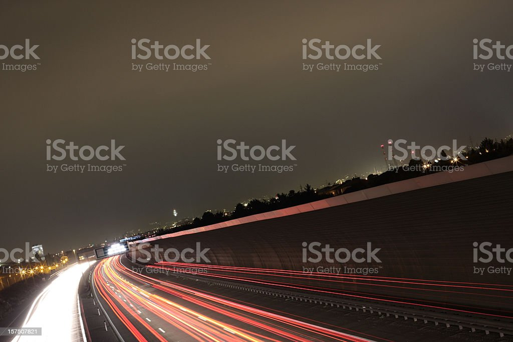 longtime exposure of a highway in night royalty-free stock photo