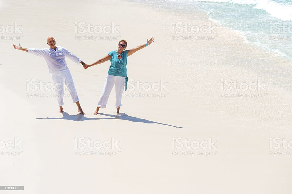 longtime stayers on sandy beach royalty-free stock photo