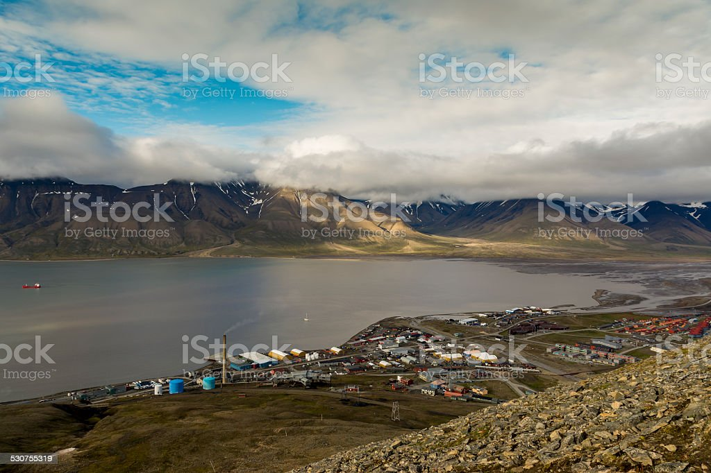 Longyearbyen and Adventdalen at Svalbard. stock photo
