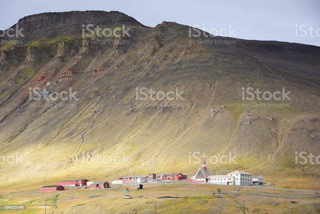 Longyearbyen Church and Mines in Svalbard Norway stock photo