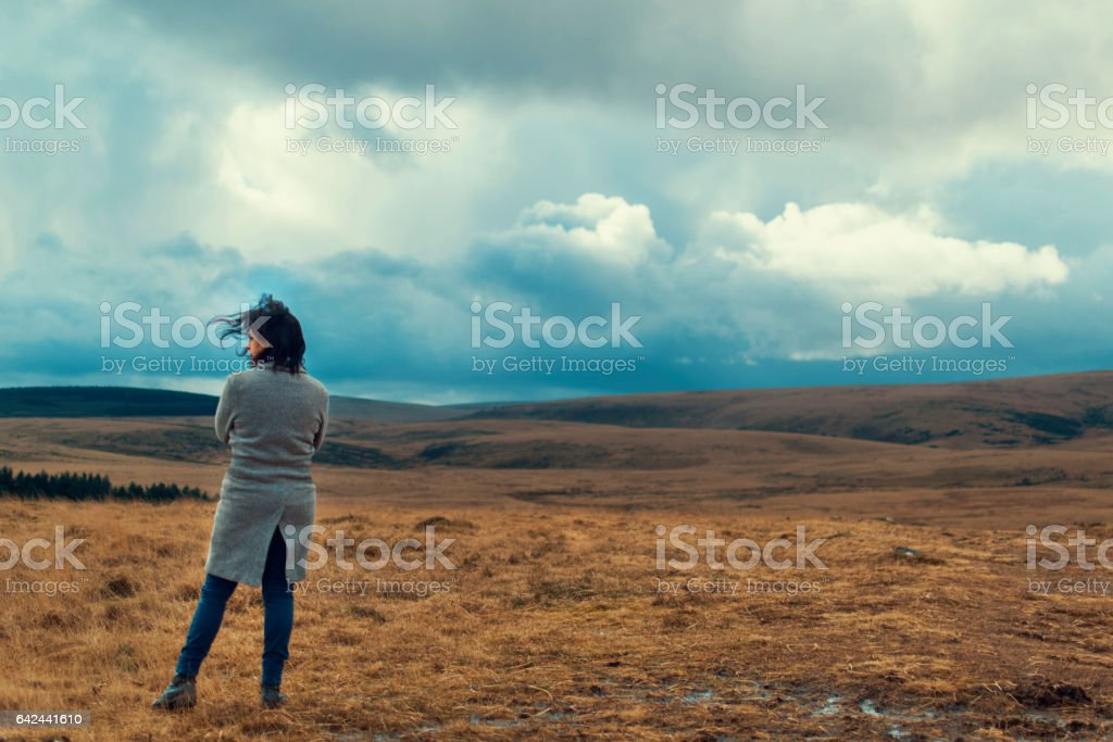 Lonly woman on the moor stock photo