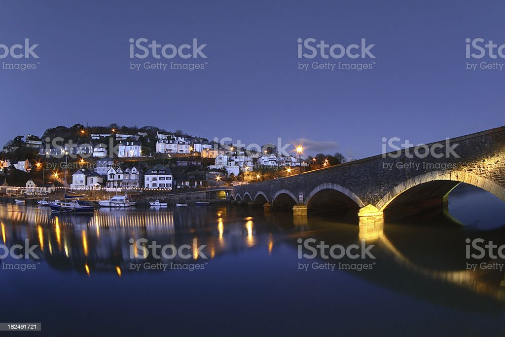 Looe Bridge and Town at Dawn royalty-free stock photo