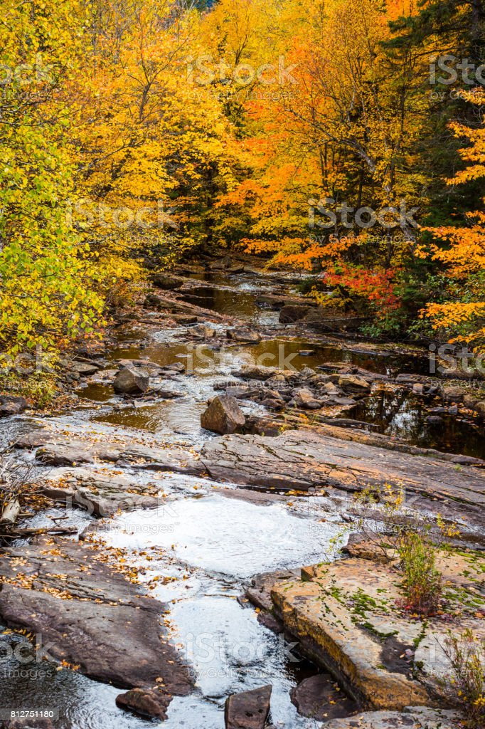 A look at ruisseau Brodeur (Brodeur's brook) in La Mauricie National Park, in the Canadian province of Québec. stock photo