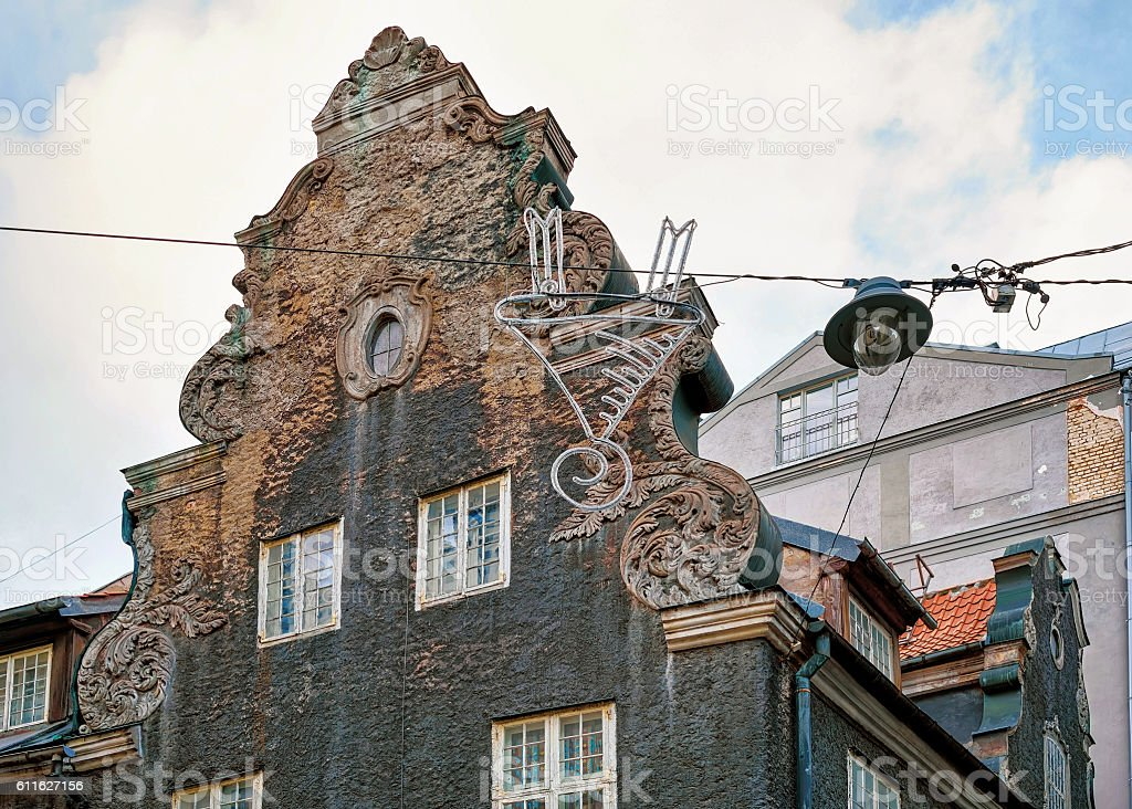 Look at the black building in old town of Riga stock photo