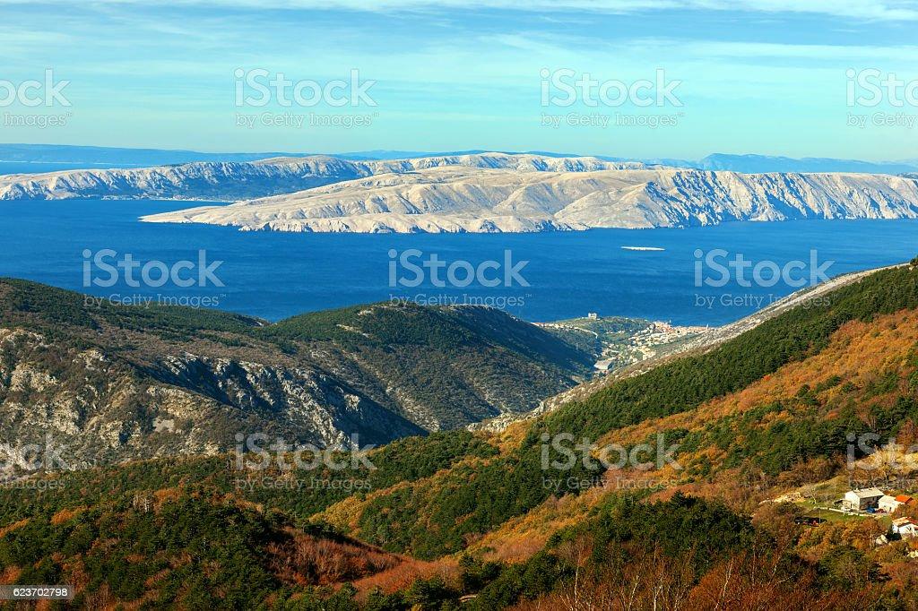 Look at the islands of Krk,Cres,Adriatic Sea, Croatia stock photo