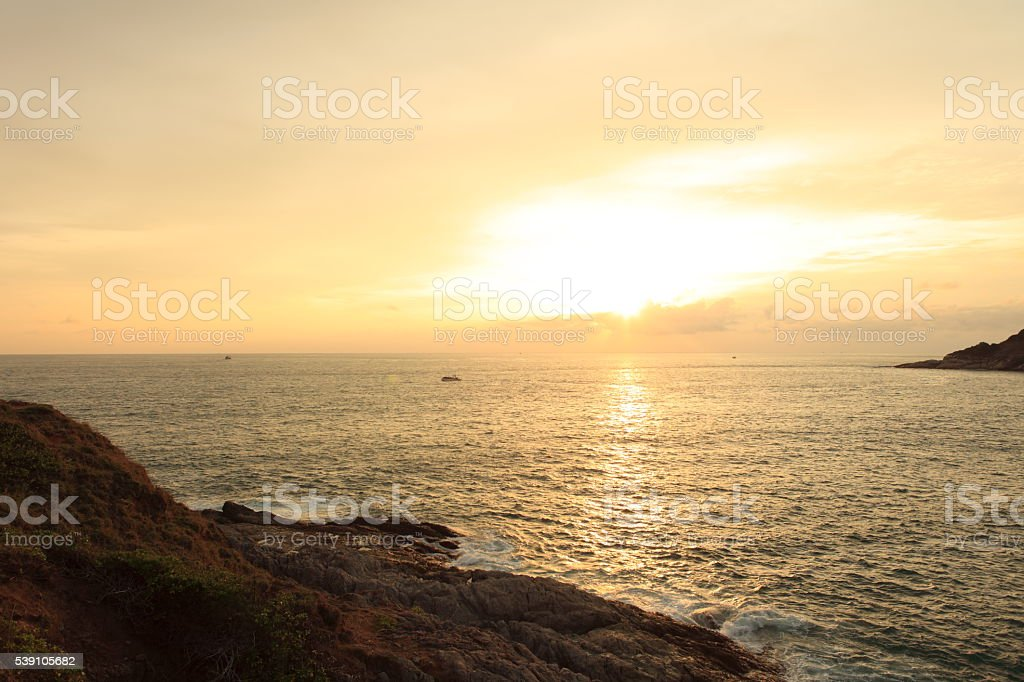 Look at the sea far from the mountains beautiful stock photo