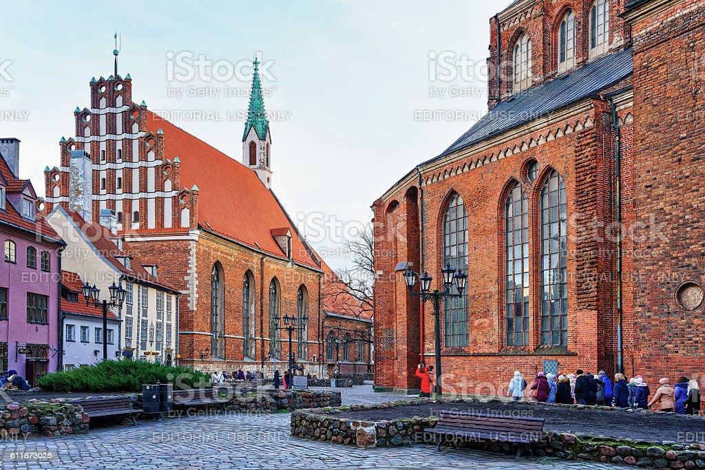 Look at the St John church in old Riga stock photo