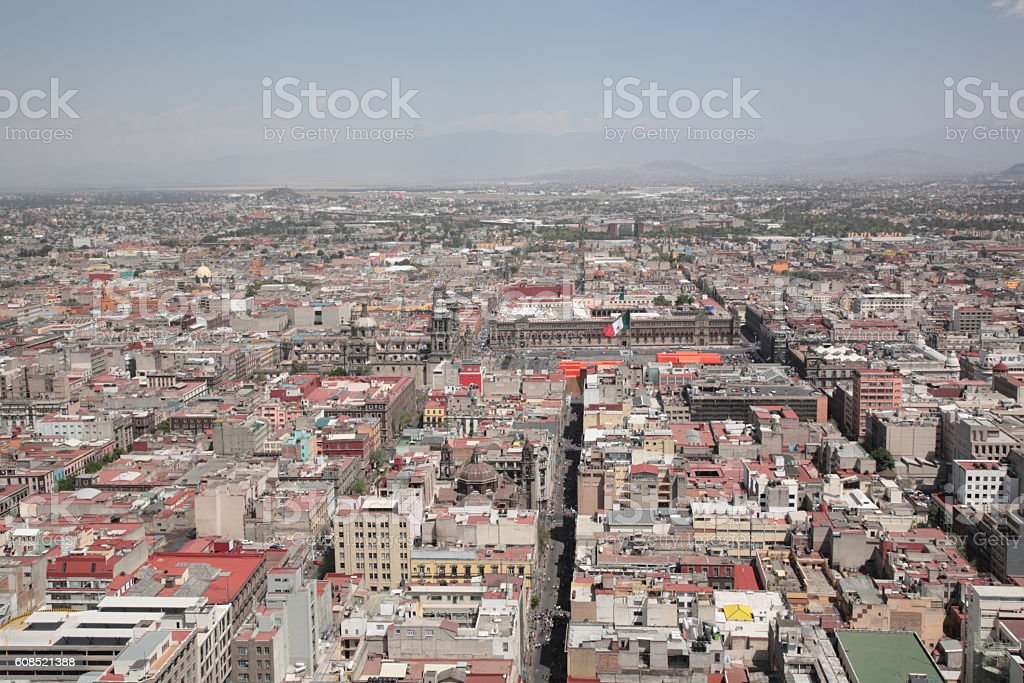 Look at view of Mexico City with Metropolitan cathedral, Mexico stock photo