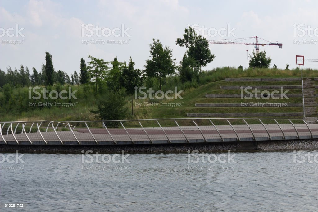 look from a lake over a lake into am open air theater stock photo