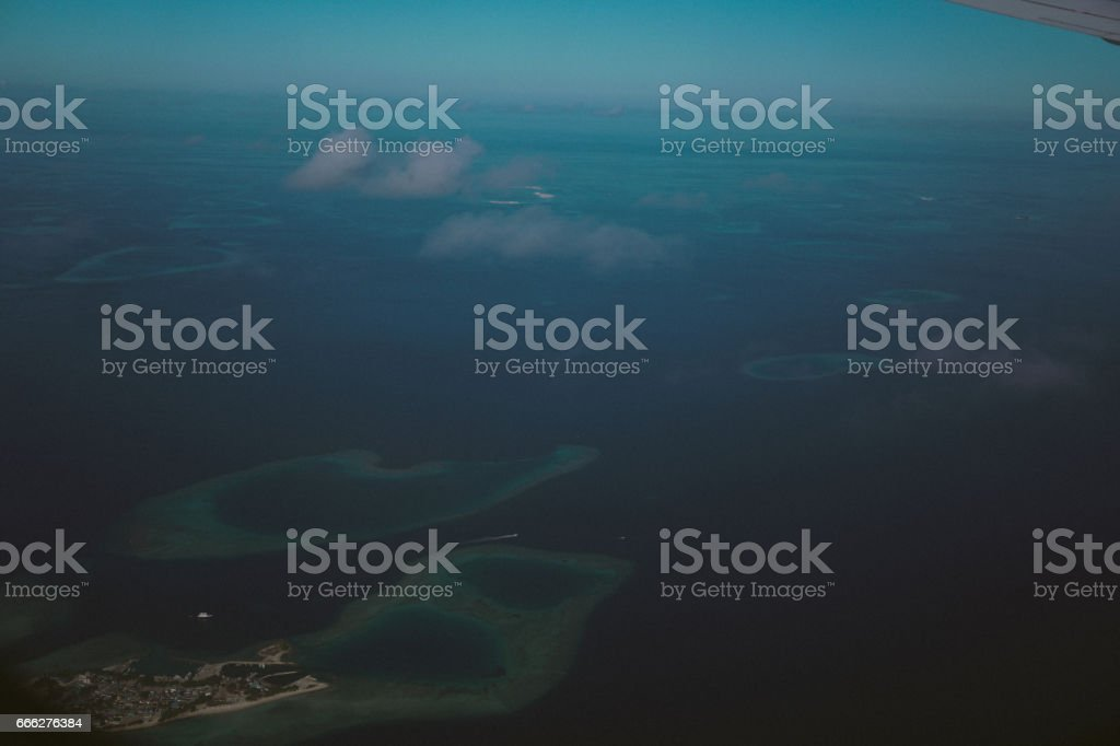 Look from the plane, Maldives stock photo