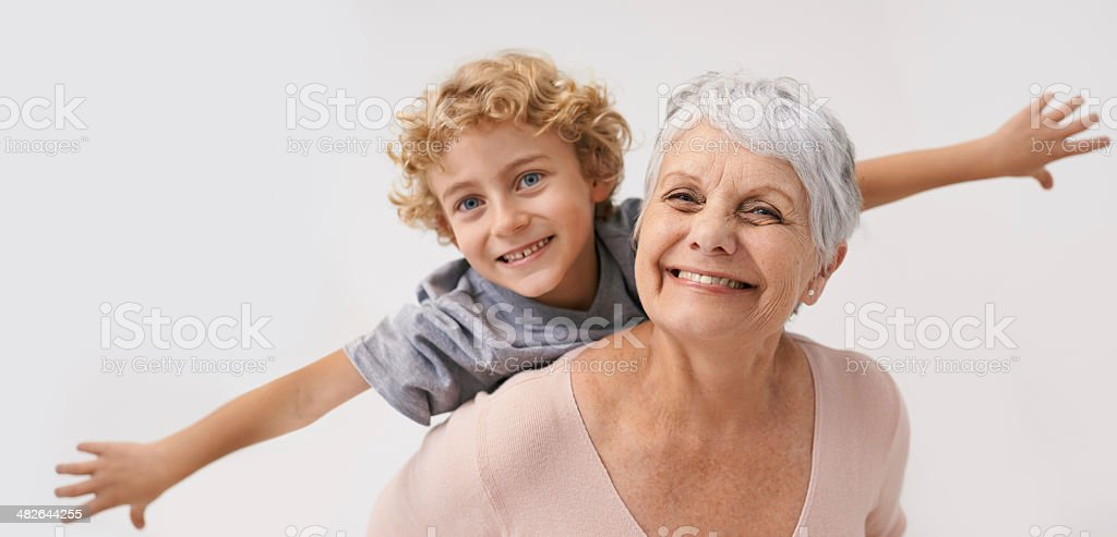 Look Gran, i can fly! stock photo