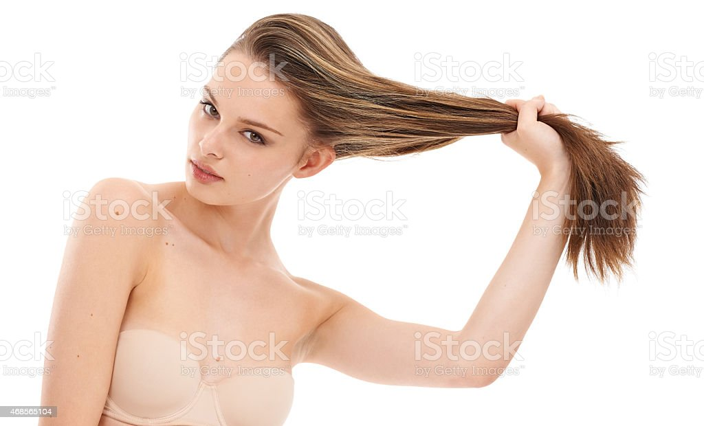 Look how long my hair is stock photo
