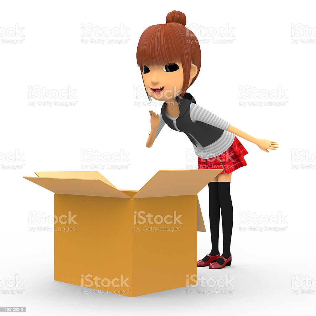 Look in a cardboard box royalty-free stock photo