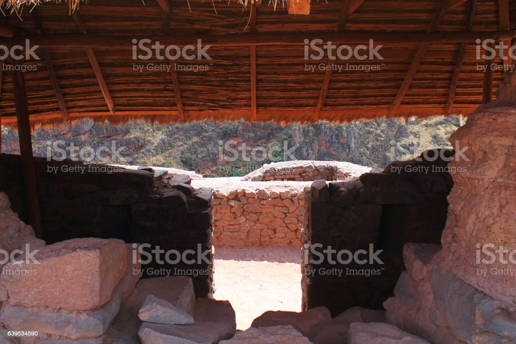 look in and through a hat at ruins of pisac stock photo
