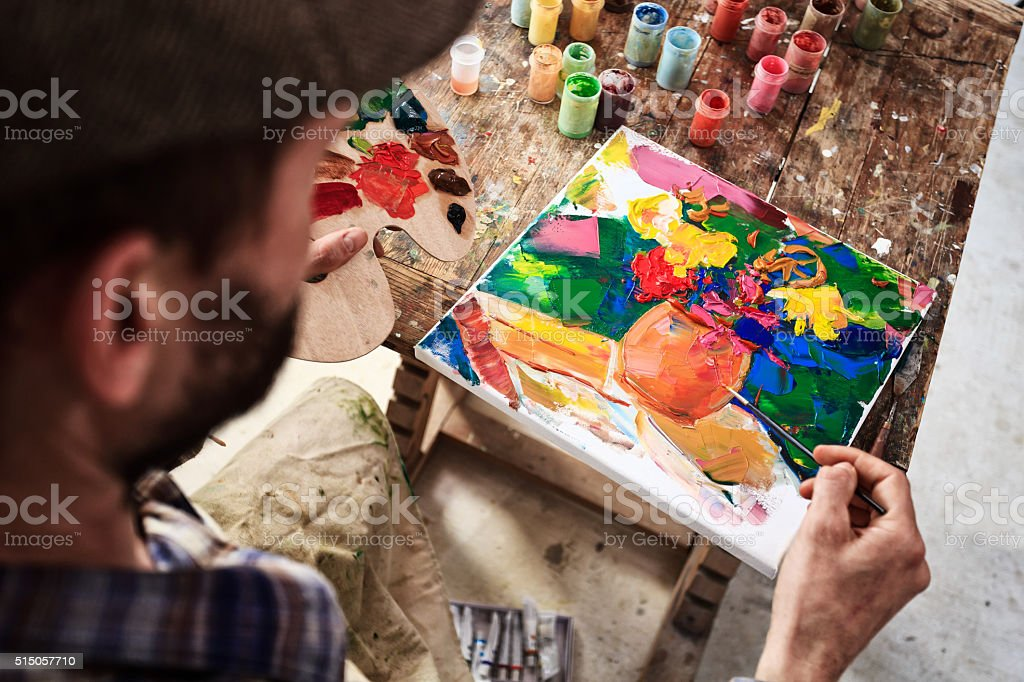 Look on the fine artist creation stock photo