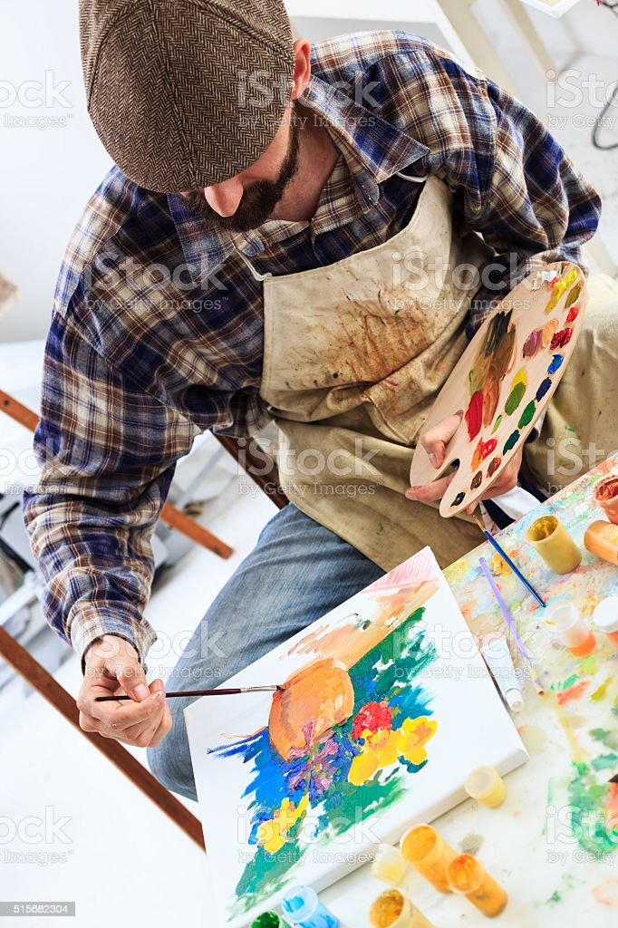 Look on the fine artist creation-high angle view stock photo