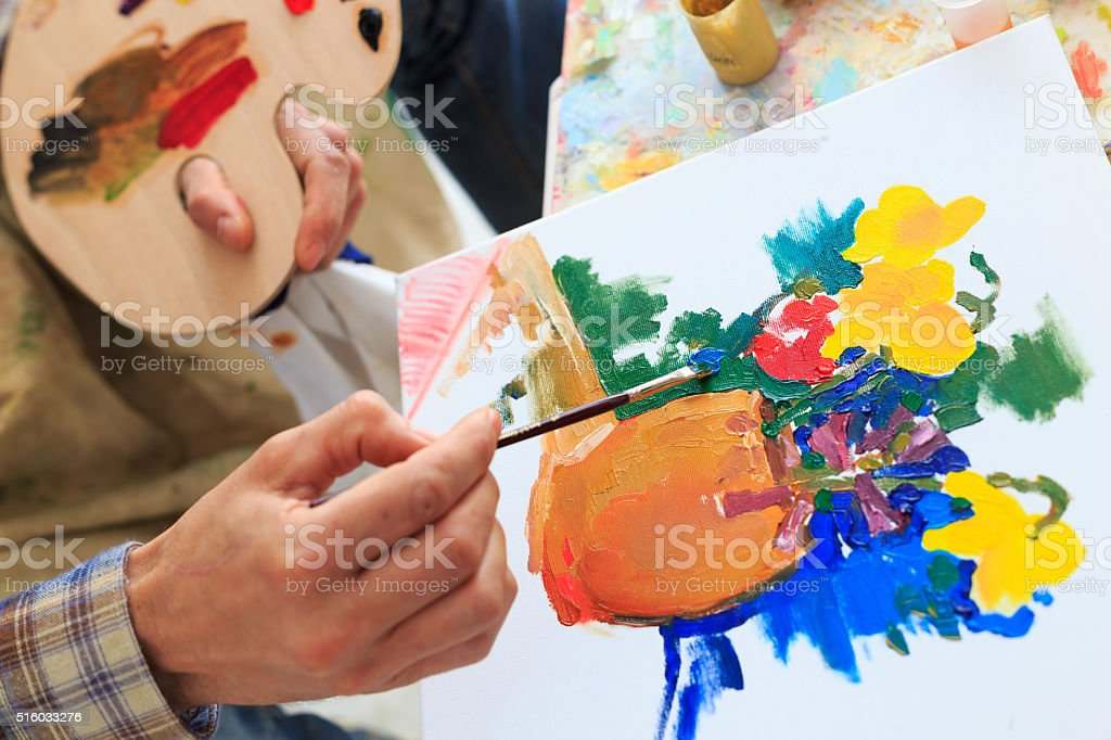 Look on the fine artist creation-view from above stock photo