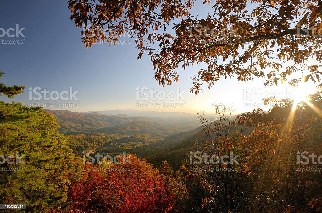 Look Rock Lower Overlook on Foothills Parkway West in Autumn stock photo
