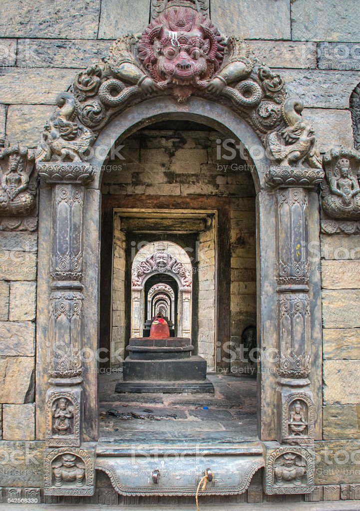 Look through the stupas of Pashupatinath, Nepal stock photo