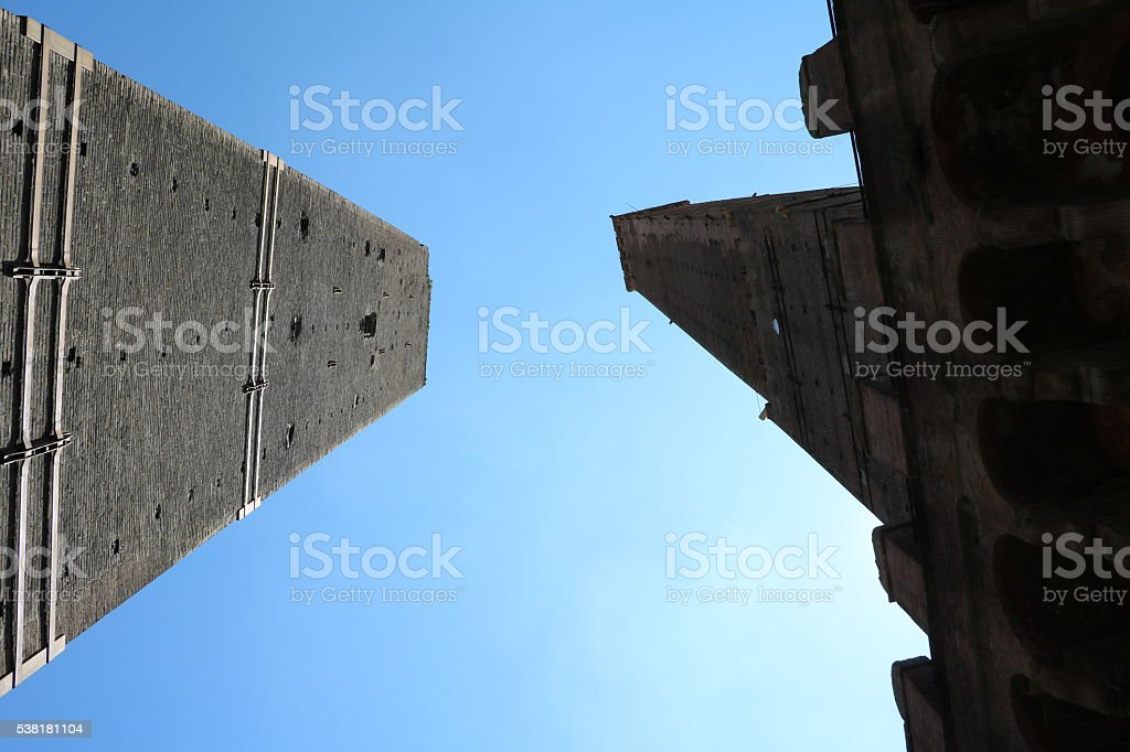 Look to Two Towers Asinelli and Garisenda in Bologna Italy stock photo