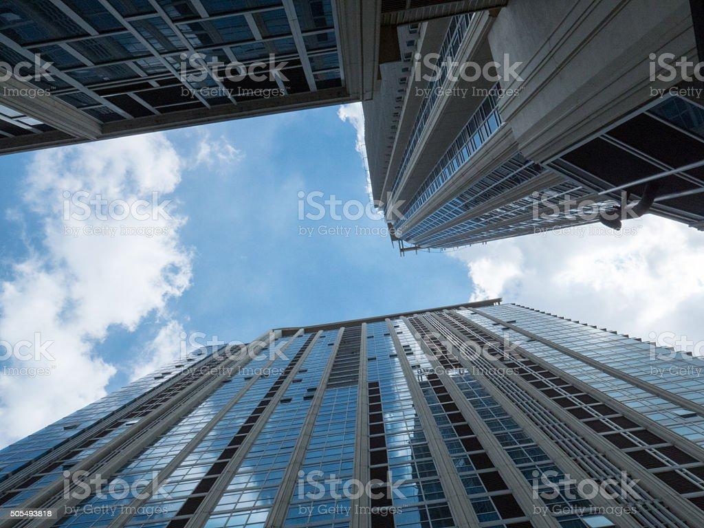 look up blue sky stock photo