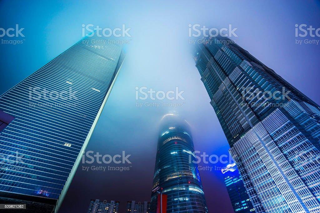 Look up modern office buildings in Shanghai stock photo