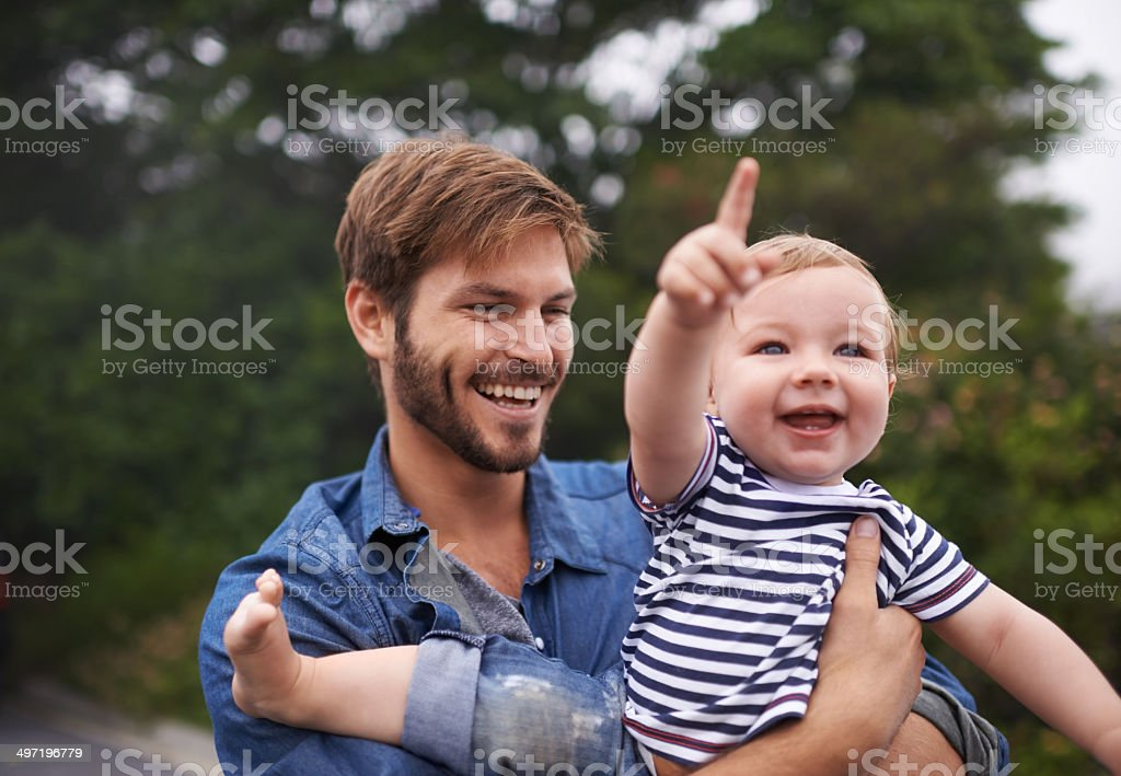 Look up there Daddy! stock photo