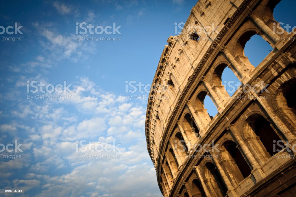 A look up view of the Coliseum stock photo