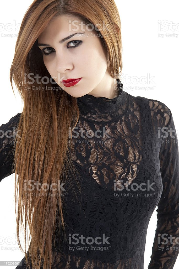 looked beautiful young woman stock photo