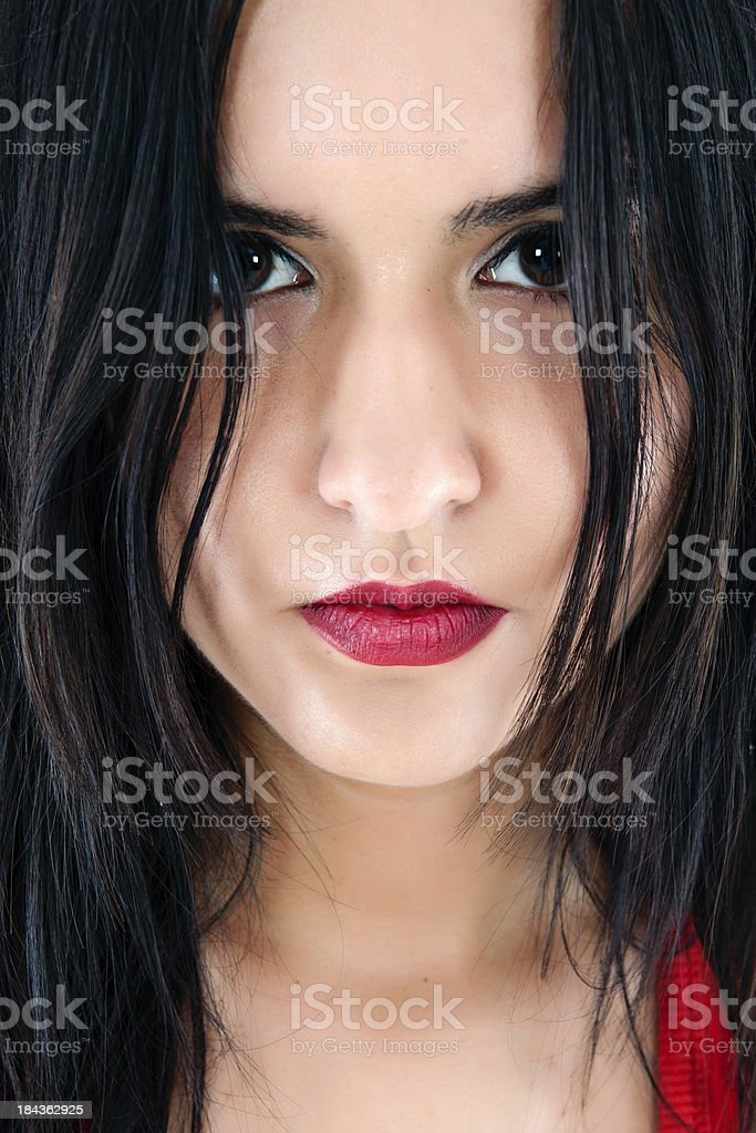 looked up beautiful young woman royalty-free stock photo