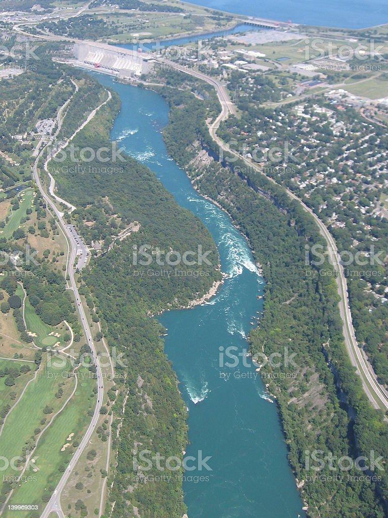 lookin down at the Niagara River stock photo