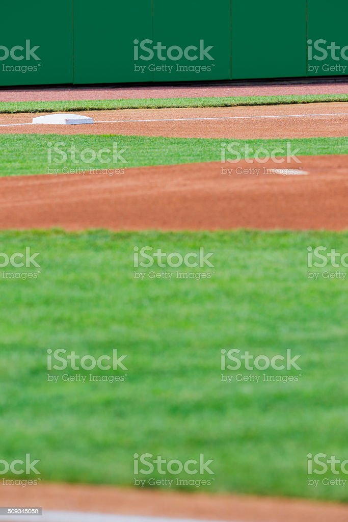 Looking across a baseball infield to 3rd base stock photo