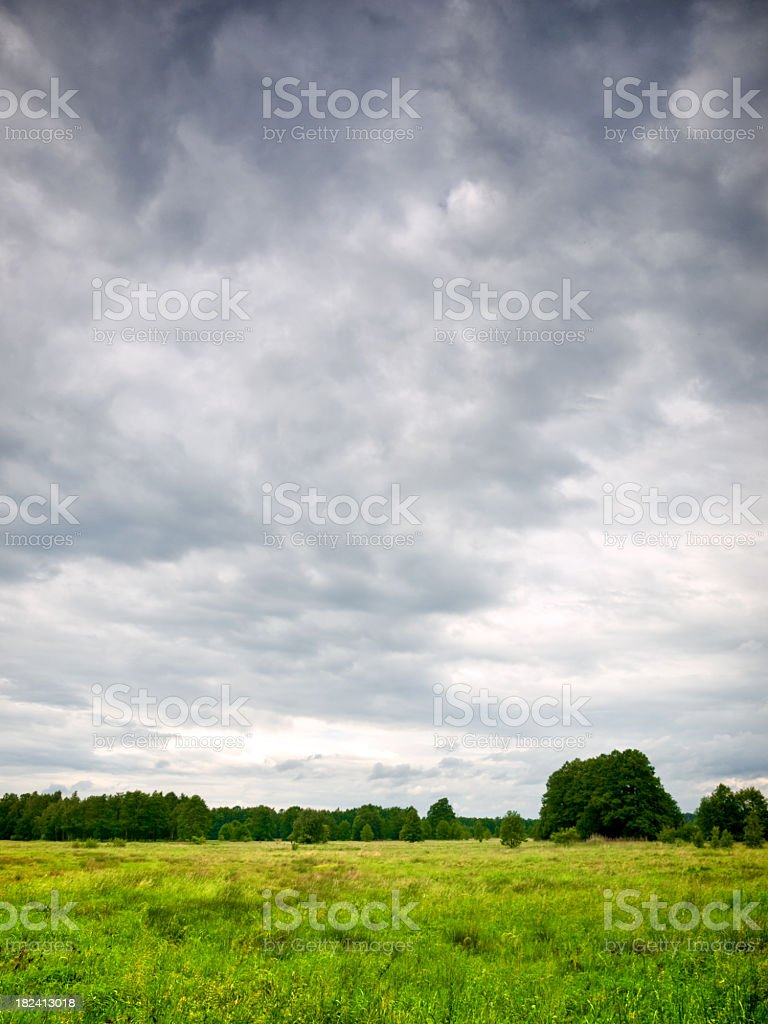 Looking across a grass field as the storm clouds move in stock photo