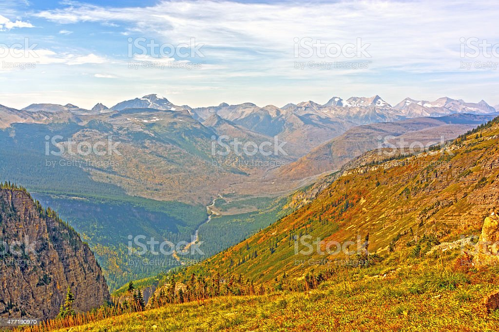 Looking Across a Mountain Valley on a Fall Day stock photo