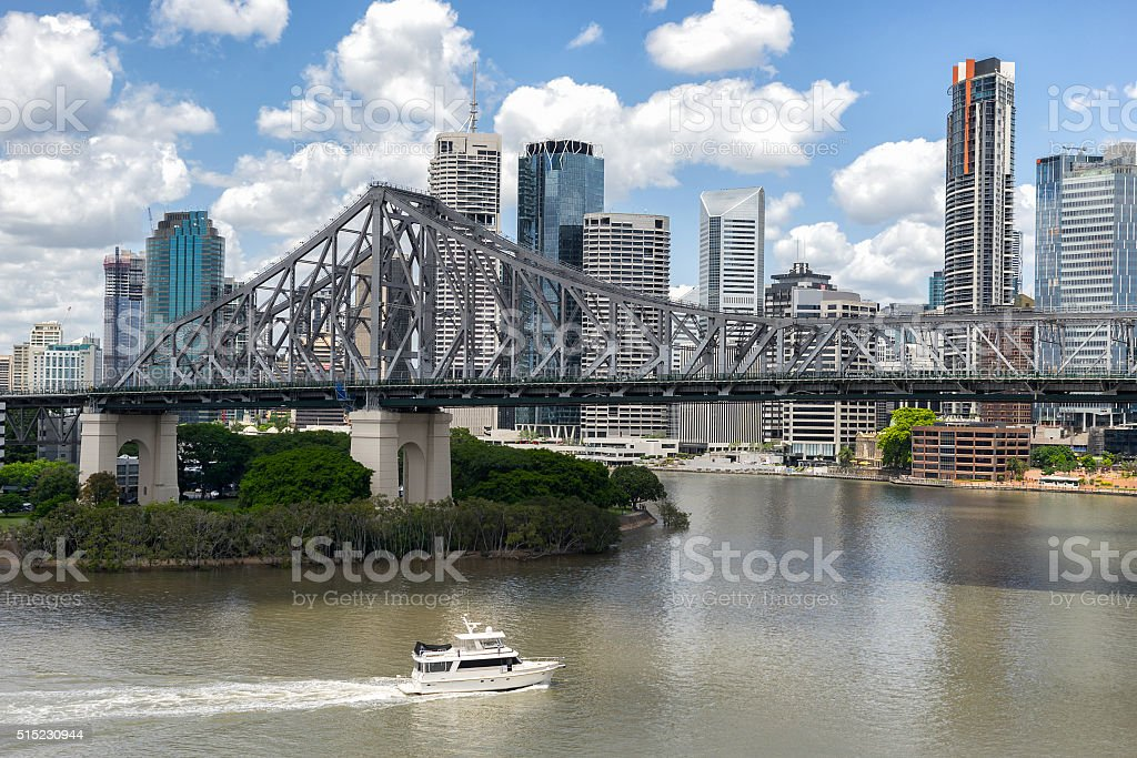 Looking across Brisbane River stock photo