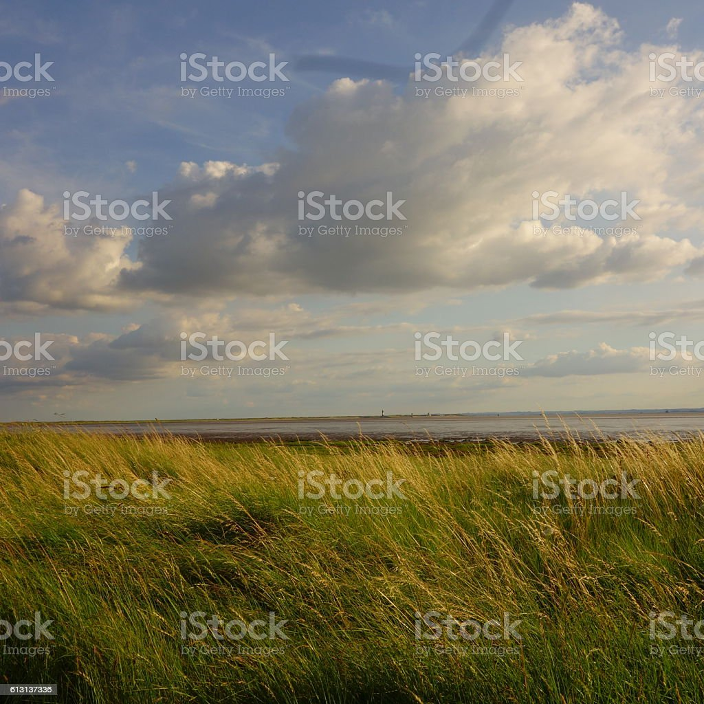 Looking across Humber Estuary to Spurn Head stock photo