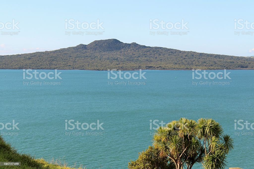 Looking across Rangitoto Channel stock photo