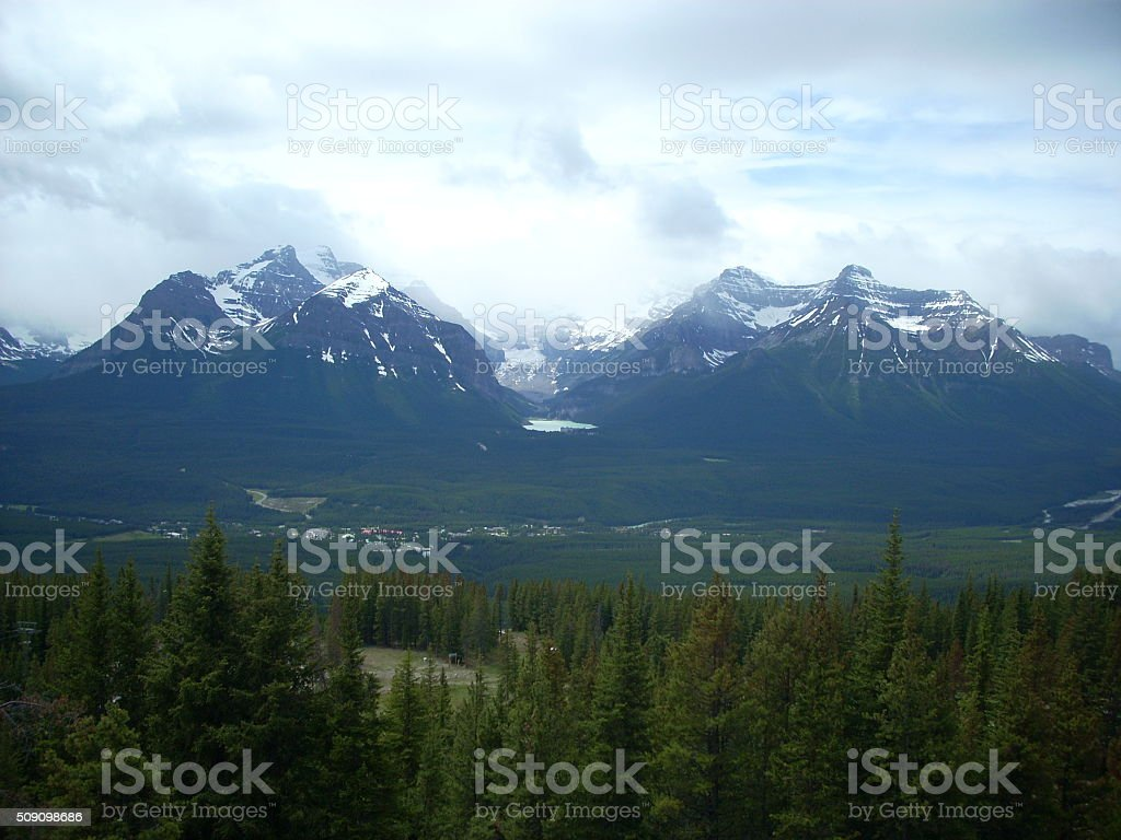 Looking Across Rocky Mountains to Lake Louise stock photo