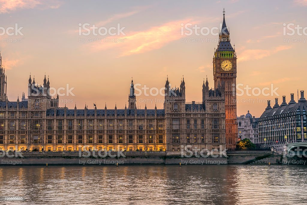 Looking across the River Thames to the Houses of Parliament stock photo