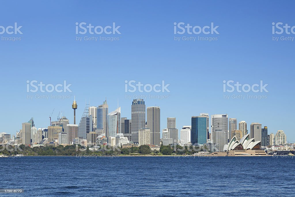 Looking across the water to the city of Sydney royalty-free stock photo