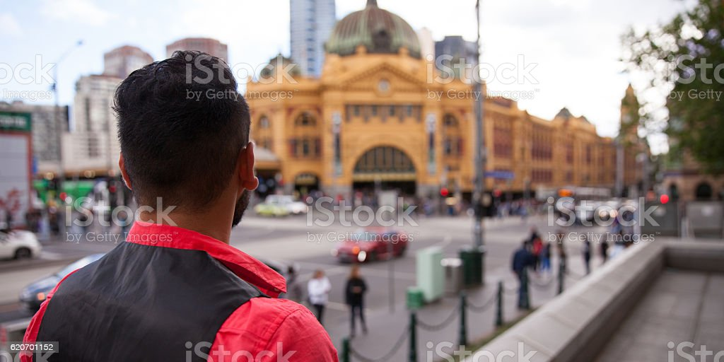 Looking Across to Flinders Street Station stock photo
