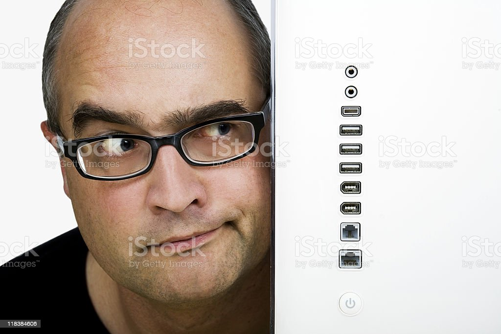 Looking angry or doubtful at numerous computer connectors royalty-free stock photo