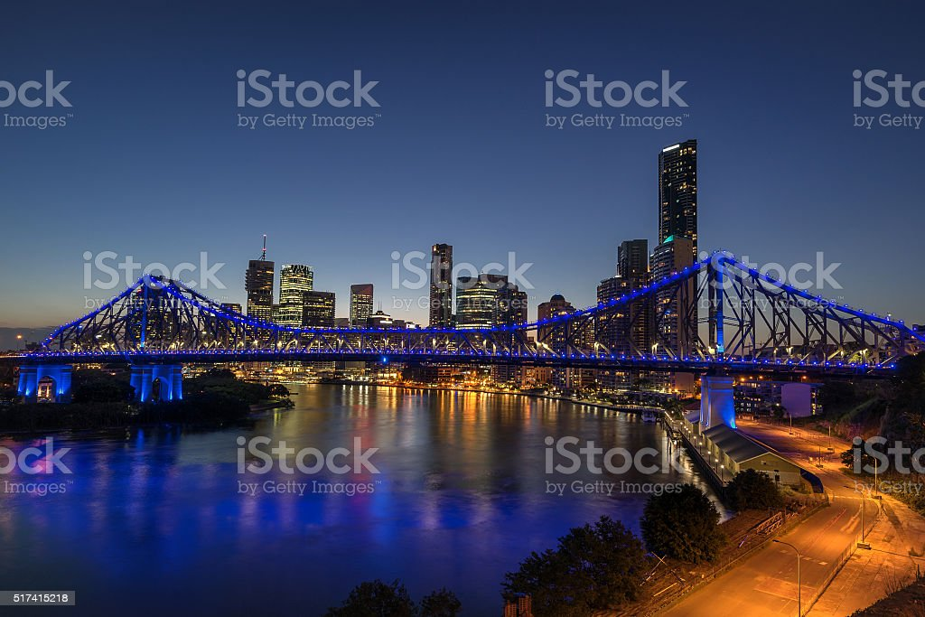 Looking aross the Brisbane River to the Story Bridge stock photo